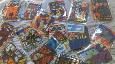 Scrap packs of African wax print for sale through Etsy